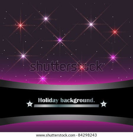 Holiday background with banner and sparkling stars. vector.