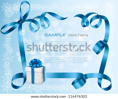 Holiday background with blue gift bow with gift boxes Vector illustration