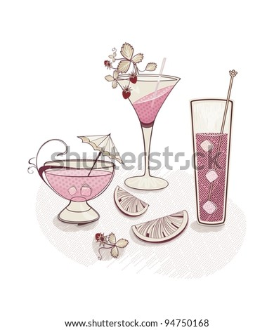 holiday background with cocktail glasses