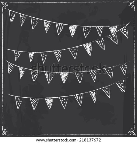 Holiday background with flags on blackboard. Vector illustration