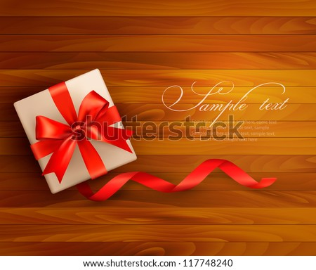 Holiday background with gift box and red bow. Vector illustration.