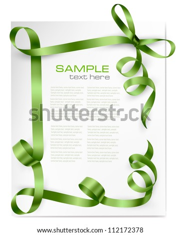 Holiday background with green gift bow with red ribbons. Vector