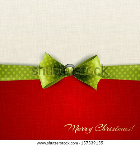 Holiday background with green polka dots ribbon and bow