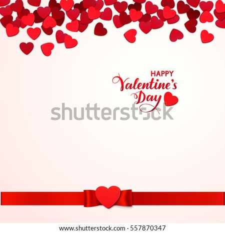 Holiday background with red hearts and ribbon. Calligraphic Happy Valentine's Day text