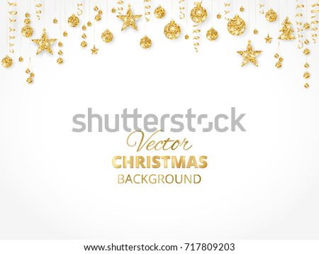 holiday background with sparkling christmas glitter ornaments golden fiesta border festive garland with hanging