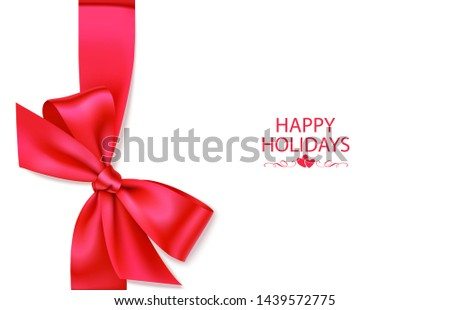 Holiday background with vertical red ribbon and decorative bow. Vector illustration