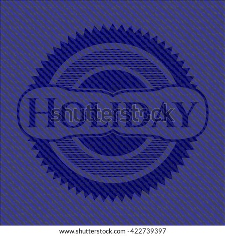 Holiday badge with jean texture