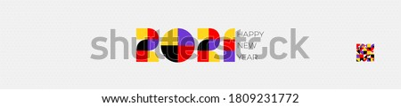 Holiday banner Happy New Year. Xmas design with logo of number 2021 shaped cube, snowflake. Colored festive Horizontal poster. Vector illustration isolated on white background.