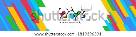 Holiday banner Happy New Year. Xmas design with logo of number 2021 shaped line, colored striped. Chinese year of the ox. Colorful festive Horizontal poster. Vector isolated on white background.