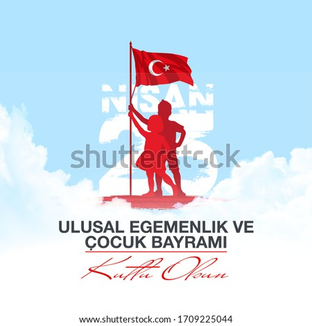 holiday banner illustration of the cocuk baryrami 23 nisan , tr: Turkish April 23 National Sovereignty and Children's Day, graphic design Turkish holiday card , kids icon with clouds, children logo.