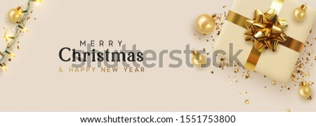Holiday banner Merry Christmas and Happy New Year. Xmas design with realistic objects, realistic beige gift box, golden balls, light lamps garlands, glitter gold confetti. Festive horizontal poster