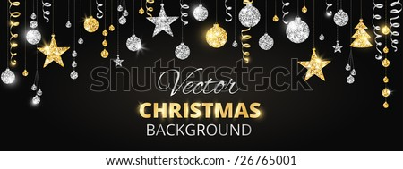 holiday banner with sparkling christmas glitter ornaments gold and silver fiesta border garland with