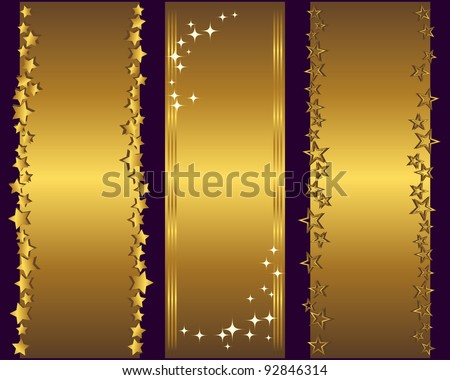 Holiday banners with gold stars. Vector Illustration.