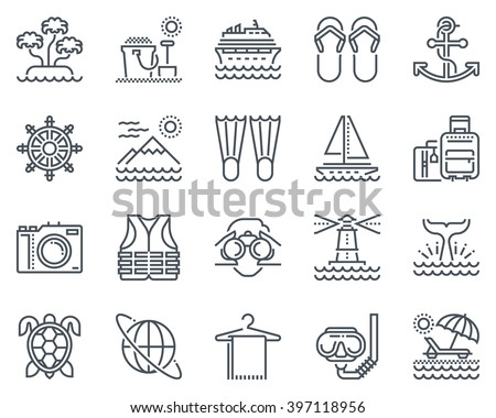 holiday  beach icon set