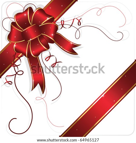 Holiday bow and ribbon, illustration