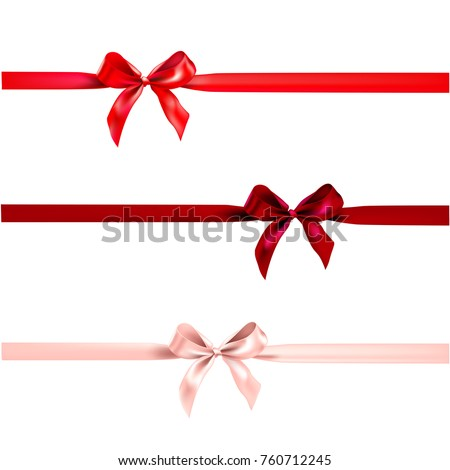 Holiday bow for decor with horizontal ribbon on white background. Decorative design element.