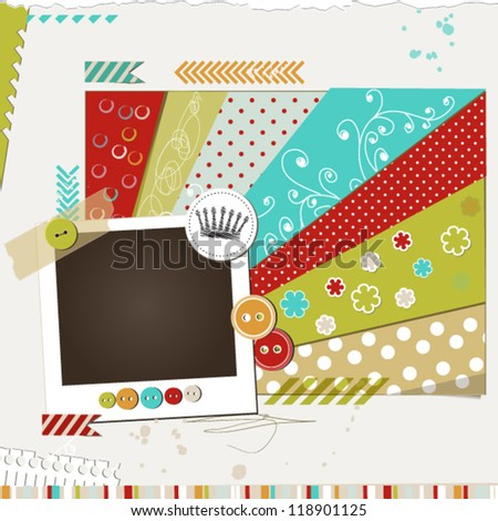 Holiday bright scrap template with photo frame