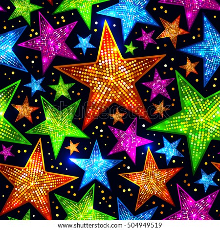 Holiday bright seamless pattern of shiny sparkles and sequins in the form of stars on a dark background in disco style for New year