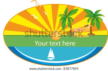 Holiday button with palm, sun and sail boat