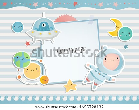 Holiday card design. Baby shower. A little astronaut floating around in open space, among stars, planets, funny monsters and comets.