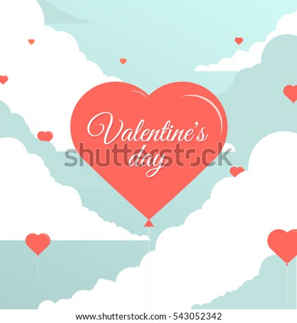 Holiday card on Valentine's Day; Flying heart; Vector #543052342