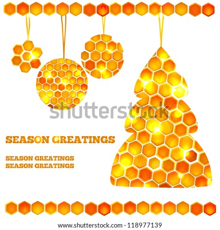 Holiday card with beautiful honey icons - christmas tree and balls with lights