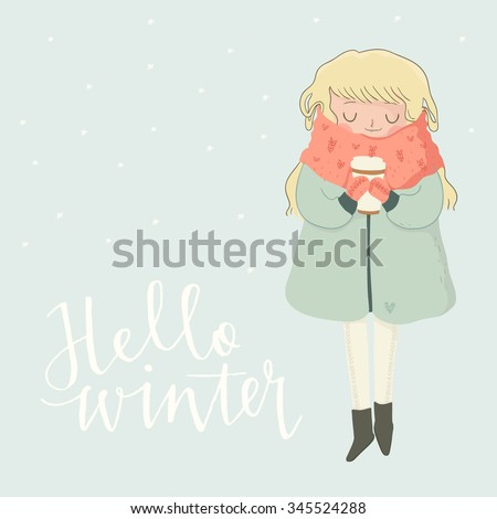 holiday card with cute girl