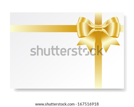 Holiday card with gold gift bow with ribbons, vector