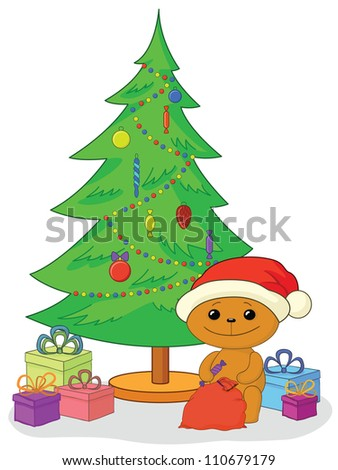 Holiday cartoon, teddy bear Santa Claus with gifts under the Christmas tree. Vector