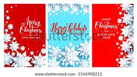 Holiday Chrismas festive cards set