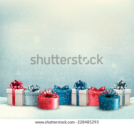 Christmas gift background download free vector art stock graphics holiday christmas background with a border of gift boxes vector negle Images