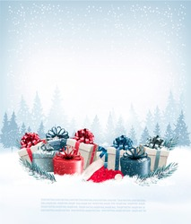 Holiday Christmas background with a gift boxes and Santa hat. Vector.