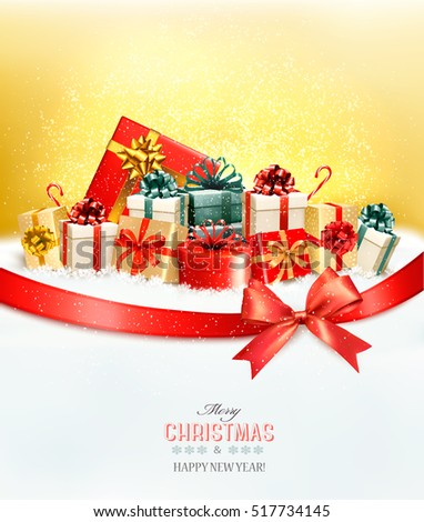 Holiday Christmas background with presents.and a gift bow Vector