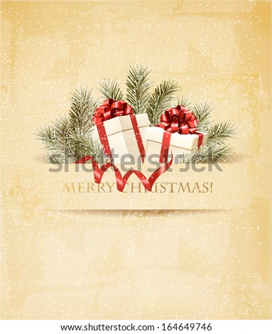 Holiday Christmas Background With Ribbon And Red Gift Boxes. Vector.