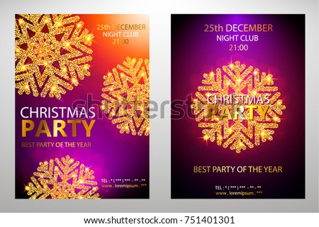 Holiday Christmas club poster. Party New Year design banner. Vector gold glitter luxury snowflake with lights effects. Set covers corporate xmas