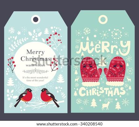 holiday christmas vector tags