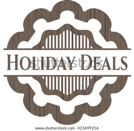 Holiday Deals badge with wood background