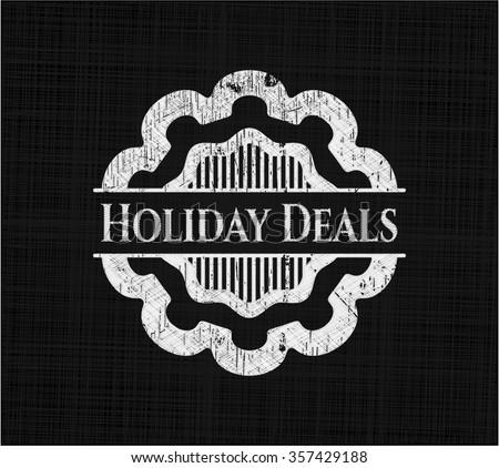 Holiday Deals chalk emblem written on a blackboard