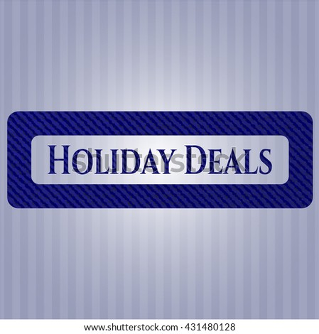 Holiday Deals emblem with jean background