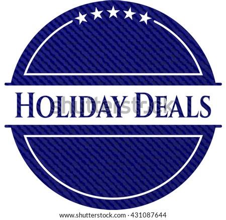 Holiday Deals jean or denim emblem or badge background