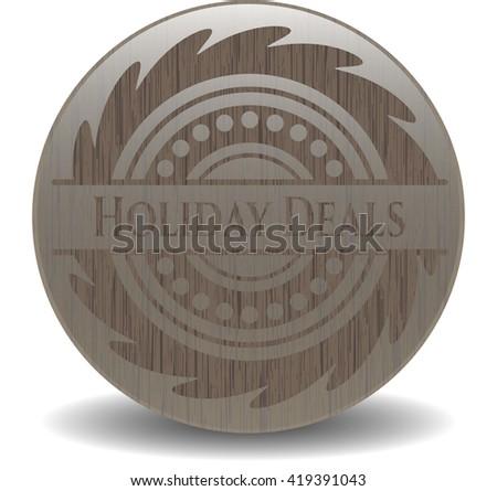 Holiday Deals vintage wooden emblem