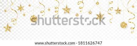 Holiday decoration, gold glitter border. Festive vector background isolated on white. Golden ornaments, garland with stars. For Christmas and New Year banners, headers, birthday and wedding cards. Photo stock ©