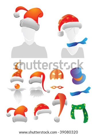 Holiday decorations for your avatar. Vector illustration. - stock vector