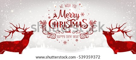 Holiday deer, Merry Christmas and New Year typographical on background with winter landscape with snowflakes, light, stars. Xmas card. Vector Illustration