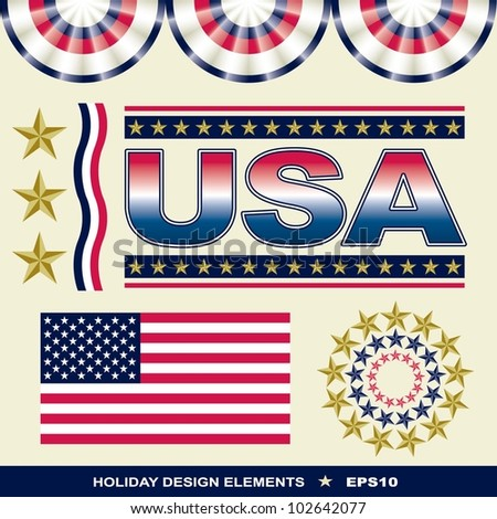 Holiday Design Elements including seamless borders and American flag in official colors and proportions