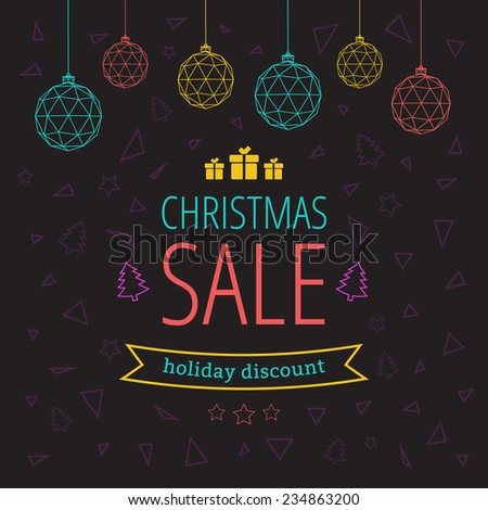 Holiday discount with Christmas balls on a black background with a pattern of triangles, stars, trees