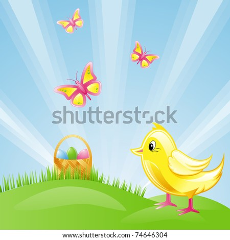 Holiday Easter: a chicken, eggs on a green grass.