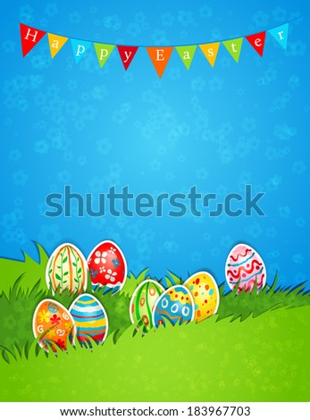 Holiday Easter background with eggs. Place for text
