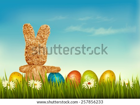Holiday Easter background with straw rabbit and Easter eggs. Vector illustration.