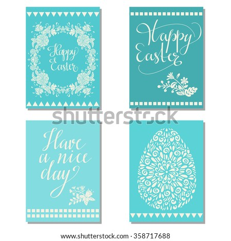 Holiday Easter cards set design with text, egg, flowers